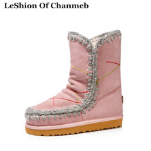 Colorful Embroidery Thermal Thick Faux Fur Mid-calf Boots Women Moon Australia Snow Boots Warm Eskimo Shoes Big Size 43 Footwear(China)