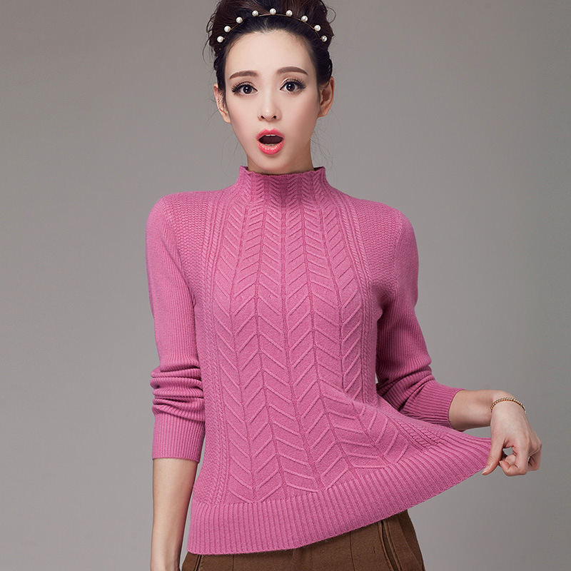 2015 Newest design korean style candy color elegant women's slim pullover cashmere thicken sweater