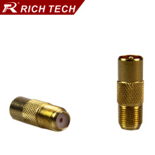 50pcs RF TV connector gold plating Tone F Type female jack to IEC PAL DVB-T TV male plug adapter TV/CCTV cable terminal