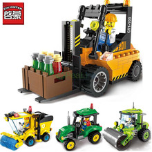 Enlighten 2pcs/lot City Series Road Roller Forklift Truck Tractor Sweeper Truck Building Blocks Kids Toys for children