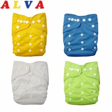 U PICK 1pc ALVABABY Reusable Plain Pocket Diaper Washable Baby Nappy Baby Cloth Diaper Unisex with Microfiber insert(China)