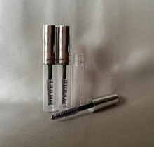 4ml mascara tube ,transparent body + shiny silver top cosmetic cotainer, mascara container ,make up empty tube ,plastic bottle