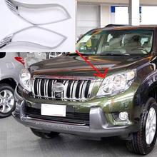 For Toyota Prado J150 2010 2011 2012 ABS Chrome Head Light Cover Trim Front Headlights Trims Car Accessories 2pcs