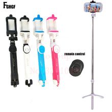 Fghgf складной монопод телефон Selfie Stick Bluetooth пульт дистанционного спуска затвора Штатив 3 в 1 Self-portrait Беспроводной ручной Selfie stick(China)