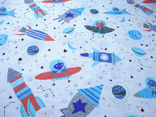 ZY DIY Cute Cartoon Space Travel and Star Universe Printed Cotton Fabric for quilting bedding cloth DIY sewing