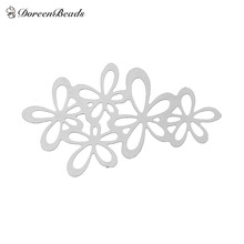 Doreenbeads Filigree Stainless Steel Embellishments Jewelry Findings Elegant Flower Silver Tone 34 x 20mm, 2 Pieces