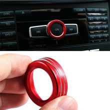 1Pcs Zinc Alloy Red Air Conditioning Audio Knob Button Control Switch Ring Cover Trim for Mercedes Benz Car Interior Mouldings