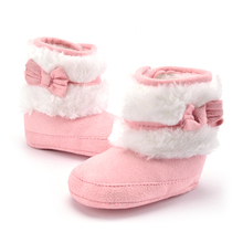 Winter Baby Boots Kids Snowshoes For Newborn Baby Bowknot First Walker Children  Flock Moccasins 4 Color Available