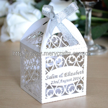 100pcs/lot customized laser cut pearl white favor box