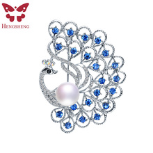 HENGSHENG Brand Silver Peacock Blue Zircon Brooch For Women,Natural Pearl With AAA Zircon,Fashion Jewelry,Beautiful Gift Box(China)