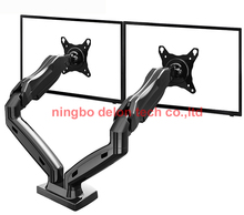 "NB F160 27"" full motion air press gas strut double lcd tv mount dual screen 360 rotate 2 monitor desktop support holder bracket"