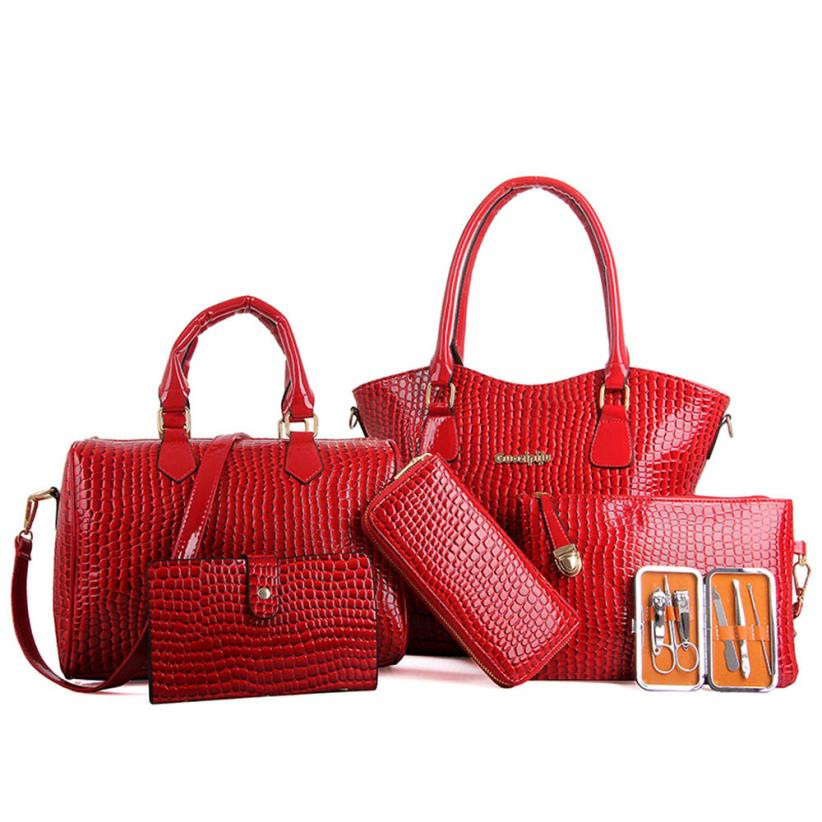 6PCS Women Fashion Handbag Partten Leather Zipper Shoulder Bags Casual Tote Bag Crossbody Bag Bolsa Feminina De Ombro #7026<br><br>Aliexpress