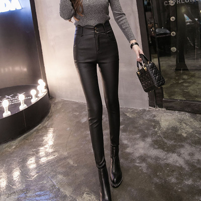 Casual Women Leather Pants Pu Button Warm Comforta...