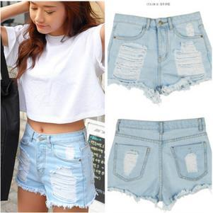 New 2017 Korean Version Of The Bold Edges Ripped Women Denim Shorts Washes Bleached High Waist Female Jeans shorts Pants  LooseОдежда и ак�е��уары<br><br><br>Aliexpress