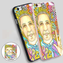 Obama For Peace Singleton Hippie Art Phone Ring Holder Soft TPU Silicon Case Cover for iPhone 4 4S 5C 5 SE 5S 6 6S 7 Plus