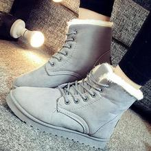 Women Snow Boots Winter Boots Lace Up Ankle Casual Warm Shoes Women Leather Plush Fur Boots