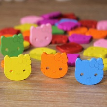 10pcs Cute Kitty Cat Wooden Buttons 2 Holes Assorted Color Scrapbooking Buttons Sewing Craft DIY Garment Accessories