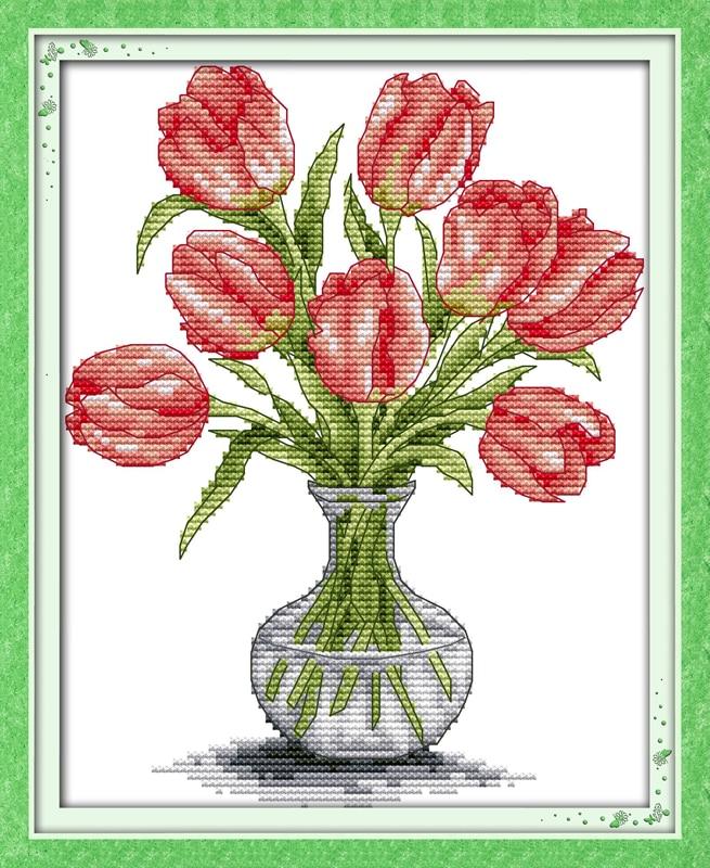 Схемы вышивок ваз для цветов 833