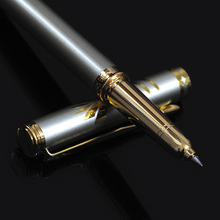 QTECH Brand Luxury 0.5mm Gold Stainless Steel Metal Ballpoint Pen Office School Supplies Black Ink(China)