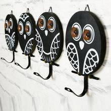 1pc Vintage Country Style Cute animal Owl wooden hook cabinet door Multi-functional Clothing Hanger Decorative Hanging Hooks L50(China)