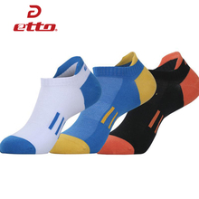Etto 3 Pairs / Lot Cotton Sports Socks Slippers Men Absorb Sweat Deodorant Athletic Sox Basketball Cycling Running Socks HEQ010(China)