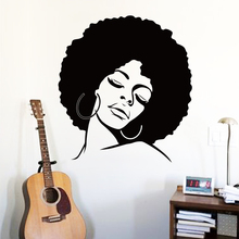 Art cheap vinyl home decoration afro hair silhouette wall sticker removable house decor fashion lady decals in bedroom or shop