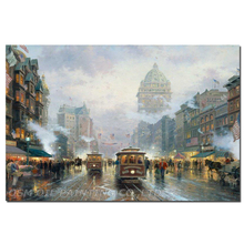 Hand Painted Oil Painting on Canvas San francisco Market Street Cityscapes Painting Wall Art Picture Street Landscape Decor
