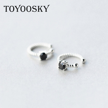 TOYOOSKY s925 Sterling Silver Small Twist Ear Cuff Single Crystal Handmade Clip Earrings Without Piercing Fashion Jewelry(China)