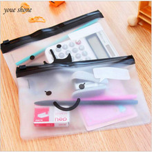Promotional cute translucent scrub beard portable pencil bag school office study supplies storage bag pencil case(China)