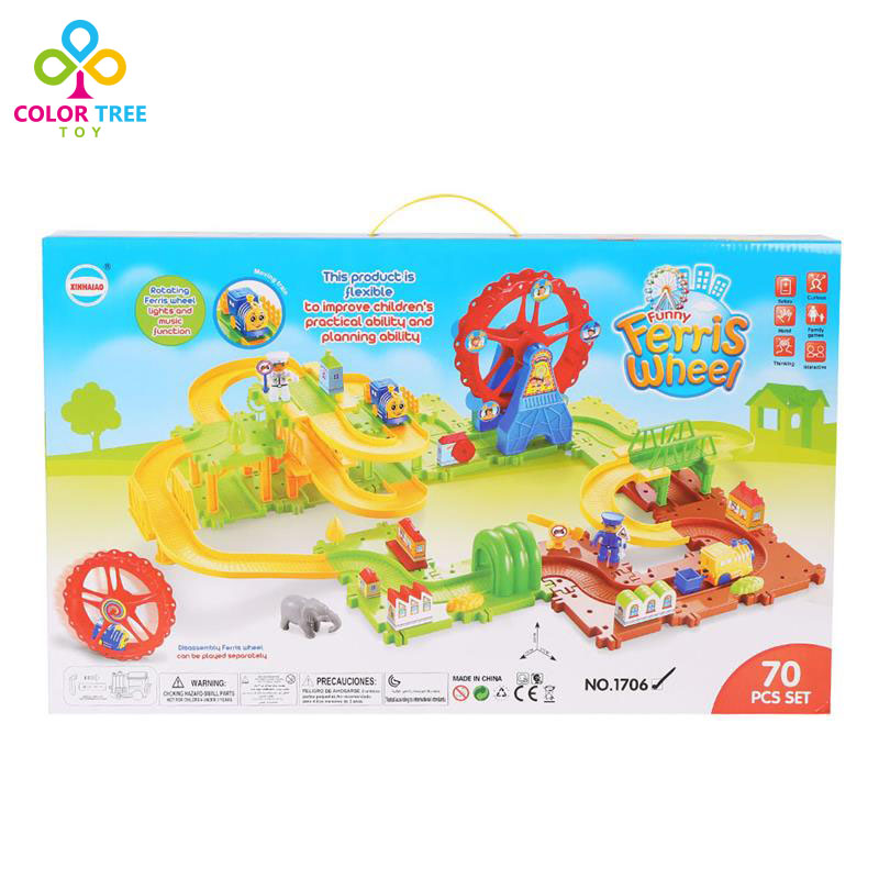 70 Pcs Assembled Car Set Creative Wheel Train Track Educational Toy for Kids Children(China (Mainland))