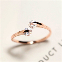 2017 New Hot !! Fashion Fine Jewelry Christmas Gift Copper Gold Color Zircon Wedding Party Bride Wedding Rings For Women R-118