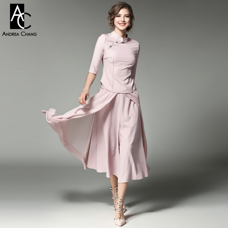 spring summer runway designer womans clothing set pink gray chi-pao coat ankle length skirt fashion vintage blouse skirt suit