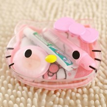 Cartoon Hello Kitty Travel Wash 4-Piece Set Toothpaste+Toothbrush+Soap+Towel Toiletries Wash Set Retail K6485