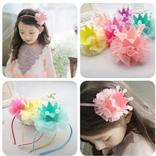 Wholesale Pearl Children Kids Baby Girls  Bow Flower Crown Lace Boutique Tiara Hair Bands Headwear Hair Accessories Gift