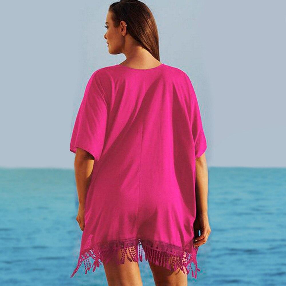 Plus Size 3xl Mini See Through Chiffon Dress For Women Sexy Tassel Crochet Tunic Beach Dress Beach Wear 11