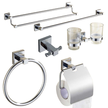 Modern Solid Brass Polished Chrome Bath Hardware Sets Silver Bathroom Accessories Wall Mounted Bathroom Products(China)