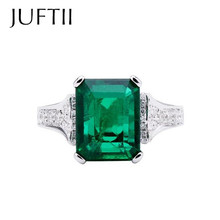 white gold Plated  CZ  diamond ring natural emerald Engagement Wedding Band Rings For women