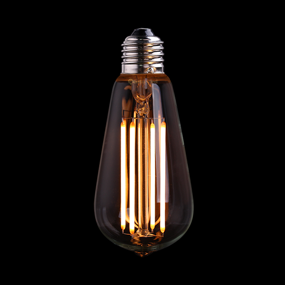 Vintage LED Long Filament Bulb,4W Ultra Warm, Edison ST58 Clear Style,E26 E27 Base, Decorative For Pendant Lamp,Dimmable<br>