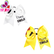 White Yellow I LOVE EMOJI Bows Big Printed Ribbon Cheer Bow With Glitter For Girls Cheerleader Gift 10Pcs/lot