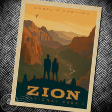 Zion national park Angels Landing Movie Poster Vintage  Picture Retro Print Design Drawings Nostalgic Retro Kraft Paper Posters