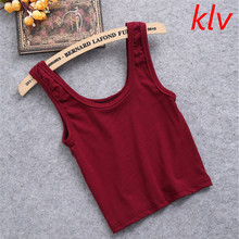 KLV Summer Slim Render Short Top Women Sleeveless U Croptops Stretchable Midriff-baring BacklessTank Tops Solid Crop Tops Vest