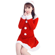 Beautiful cheap More Funny Women Sexy Santa Christmas Costume Fancy Dress Xmas Office Party Outfit red winter dress vestidos(China)