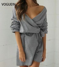 VOGUE!N New Womens Sexy V Neck Plaid Check Print Bow Tie Asymmetrical Mini Dress