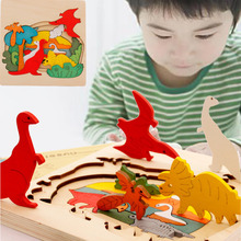 Kids Wooden Toys for Children Jigsaw Puzzle Toys Early Educational Toys 3D Puzzle Story Cartoon Dinosaur Animal Puzzles Board(China)
