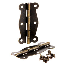 2Pcs 51x24mm Antique Bronze Cabinet Hinges Furniture Accessories Small Wooden Gift Box Hinge Fitting for Furniture Hardware+Srew