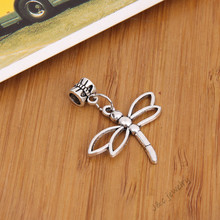 10 pcs Vintage silver plated big hole bead fit Pandora charm  dragonfly pendants for European bracelet DIY jewelry 28170