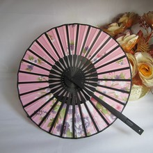 Cute Round Hand Held Fans Flower Fabric Bamboo Fans Holiday Wedding Shower Favor