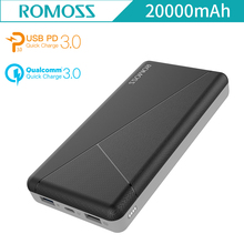 Buy ROMOSS PIE20 PRO 20000mAh Power Bank QC3.0 PD3.0 External Battery iPhone8 iPhoneX Type C Two way Quick Charge PD3 Power Bank for $24.99 in AliExpress store