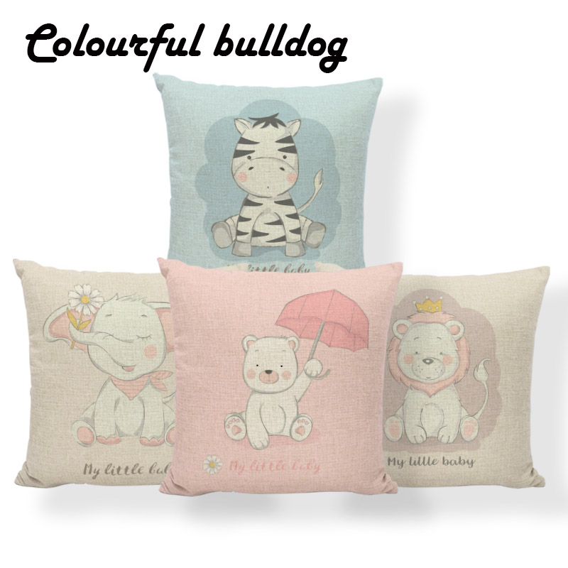 Home Textile Pink Lion Parrot Cushions Animal Hedgehog Bull Terrier Pillows Patchwork Sofa Home Decor Throw Cushion Covers 18 Inch Linen Cool