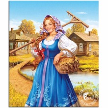 DIY Diamond Painting Cross Stitch Kits Diamond Embroidery Harvest Girl Full Round Drill Diamond Mosaic Pictures of Rhinestones
